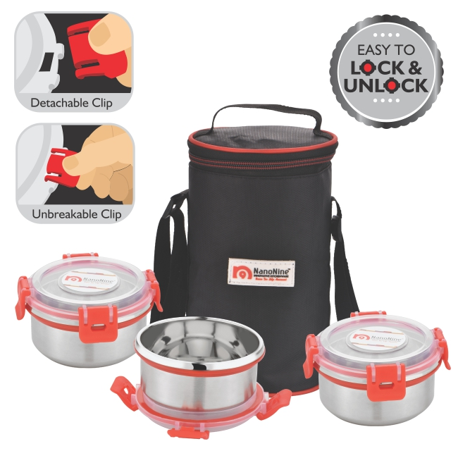 Stainless Steel Uni-Qlip 3 Pack Medium Lunch Pack