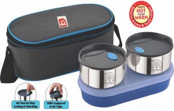 Stainless Steel Lunch Box With Tiffin Bag -Airlock 2Pack with Chapati Box