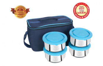 Stainless Steel Insulated Tiffin Box with Bag- Mid-day 4Pack